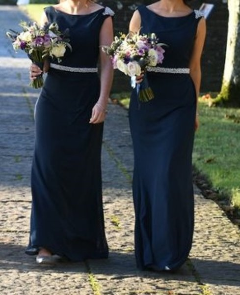 Two Beautiful True Bride Navy Bridesmaid Dresses Worn Once On 5 11 2016 Cleaned Both Size 8 10 Chiffon Material With Embellished Shoulder And Pearl